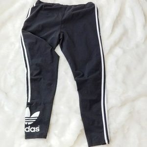 Adidas Black and White Stripe Tights Leggings
